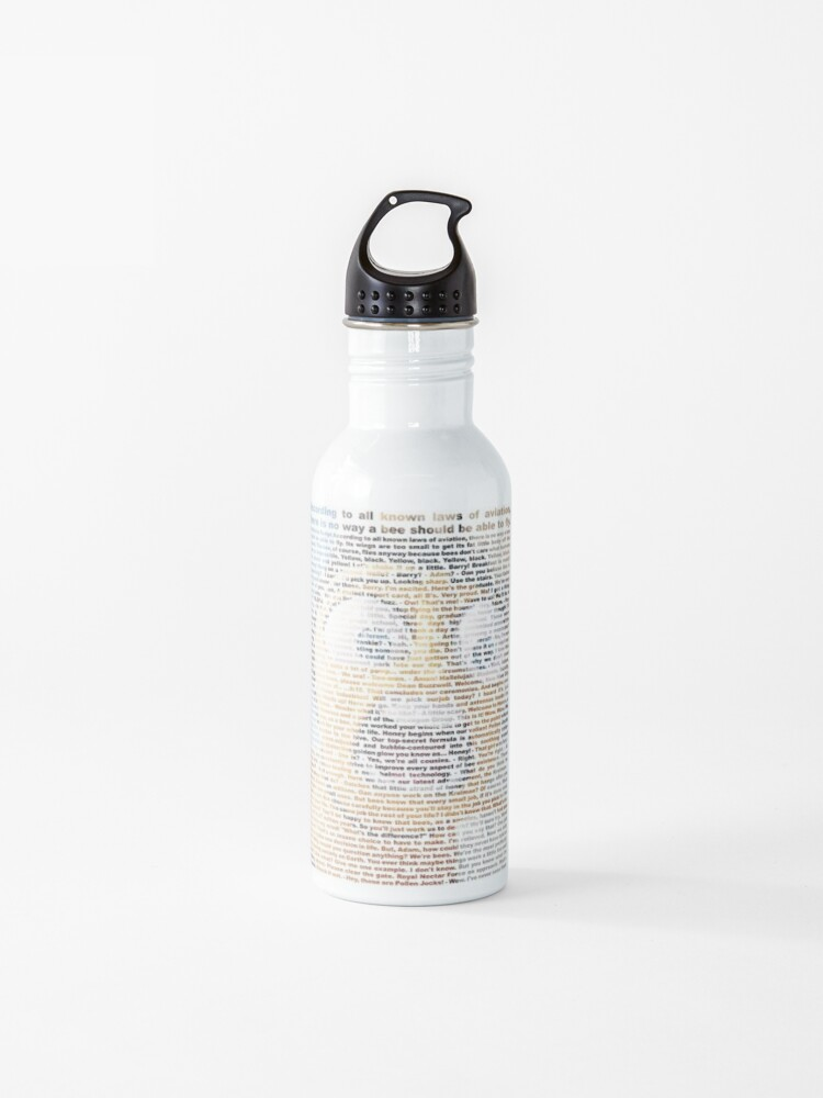 Entire Bee Movie Script Water Bottle By Fluffymuffins Redbubble