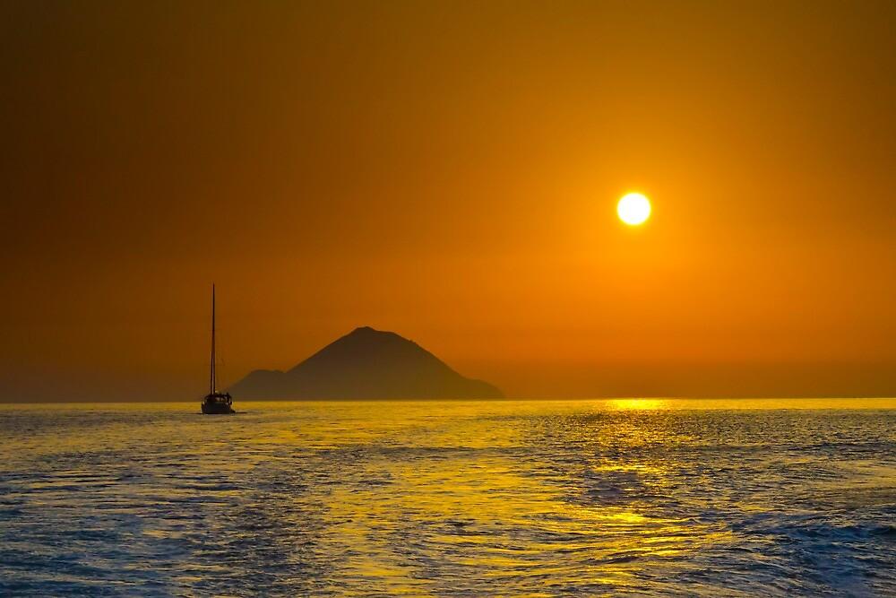 Filicudi at sunset by Andrea Rapisarda