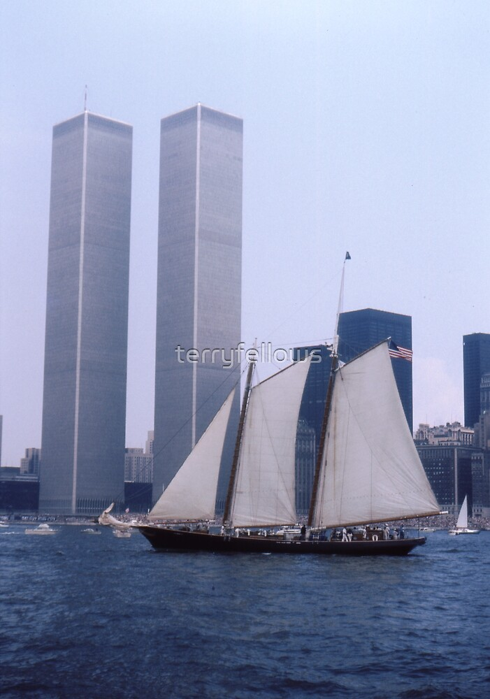 """The Twin Towers With The Schooner """"America"""". Taken Juring The Parade Of Sail - Bicentennial Celebrations New York 4th July 1976.By Terry Fellows Crew Member On Tall Ship """"Phoenix"""". by terryfellows"""