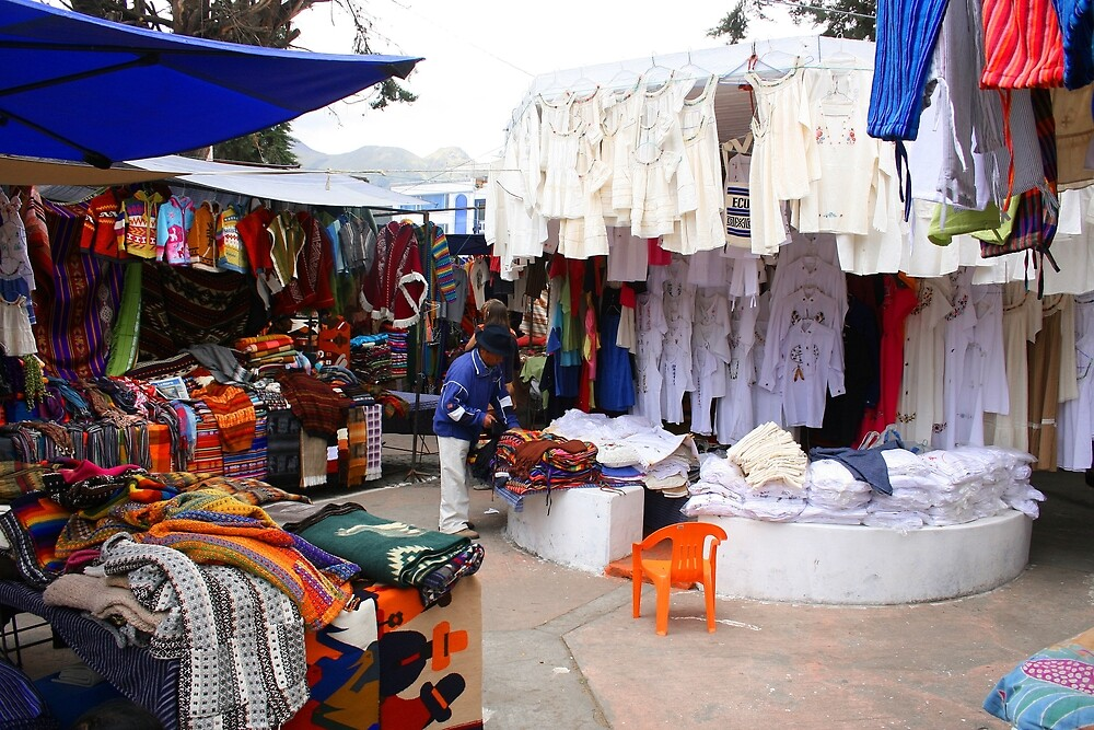 Clothing Carpet and Linens at the Otavalo Market by rhamm
