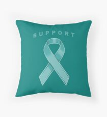 Teal Awareness Ribbon of Support Throw Pillow