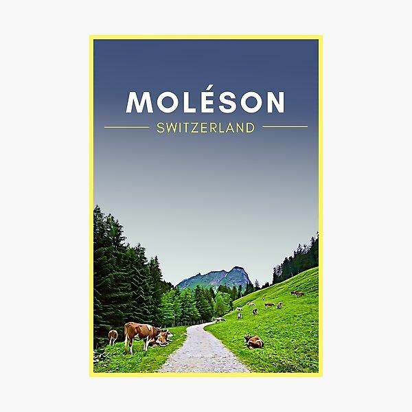 Moleson Gruyeres Switzerland Vintage Travel Art Photographic Print