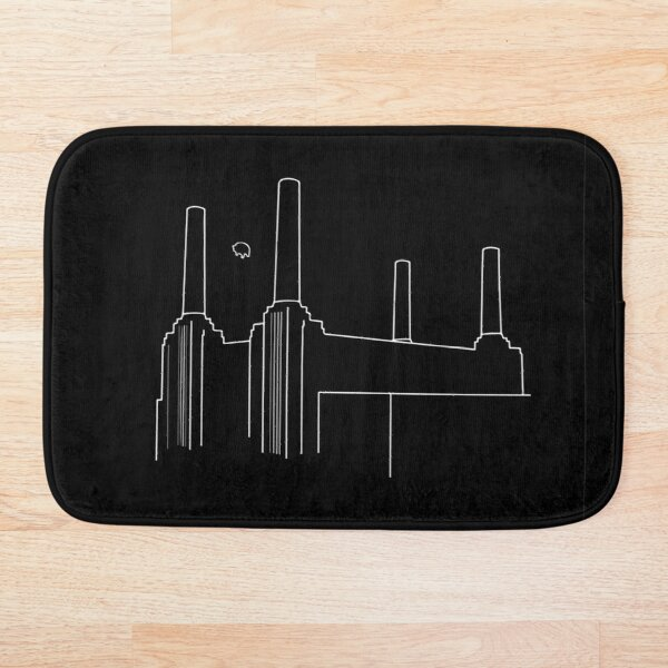 Pink Floyd Animals Minimalistic White on Black Bath Mat