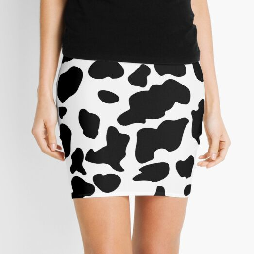 Cow Pattern | Black and white cowhide Mini Skirt