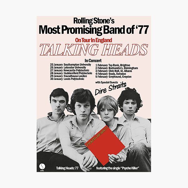 TALKING HEADS UK TOUR POSTER (1977) Photographic Print