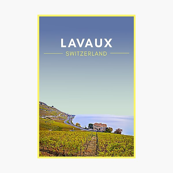 Lavaux Vineyards Switzerland Vintage Travel Art Photographic Print
