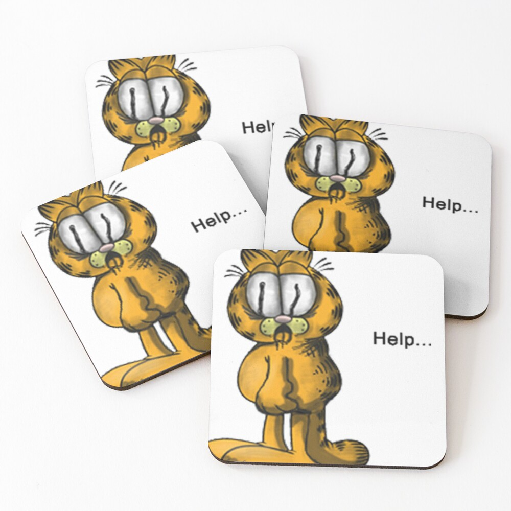 Cursed Garfield Sticker Help Coasters Set Of 4 By Assidtrip Redbubble