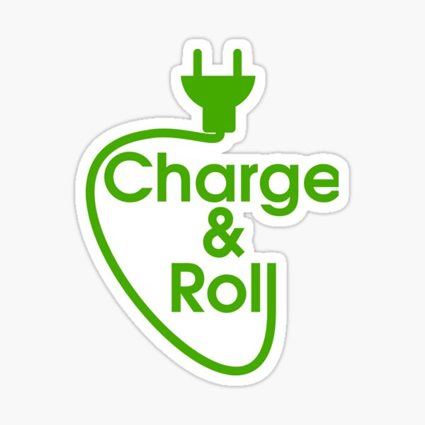 electric car charge & roll Sticker