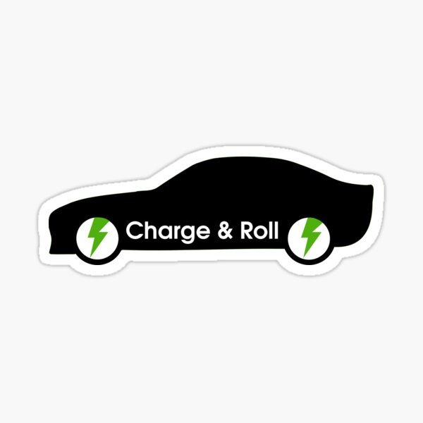 electric car charge and roll black Sticker