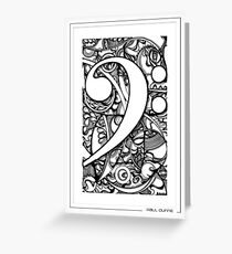 BASS CLEF DOODLE Greeting Card