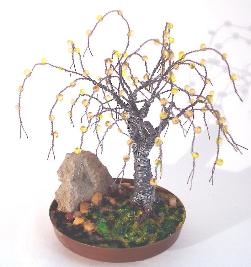Beaded in Brass Base - Beaded Wire Tree Sculpture by Sal Villano