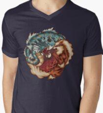 Der Tiger und der Drache T-Shirt mit V-Ausschnitt