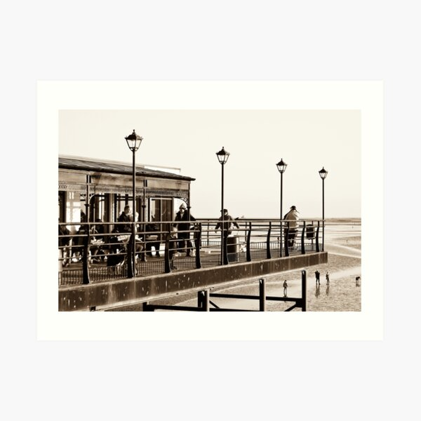 Cleethorpes Pier and Papa's fish and chips restaurant. East coast Lincolnshire, UK. Art Print