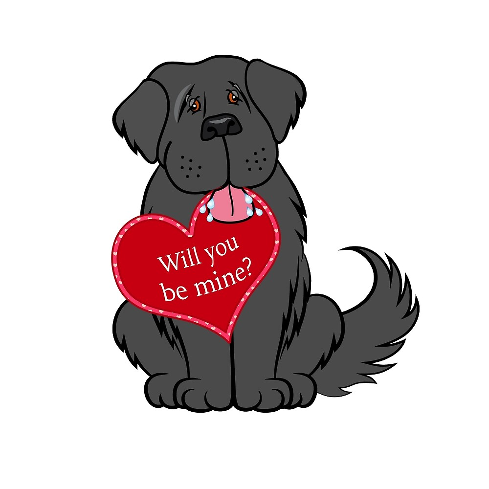 Will You Be Mine Newfie with Heart by Christine Mullis