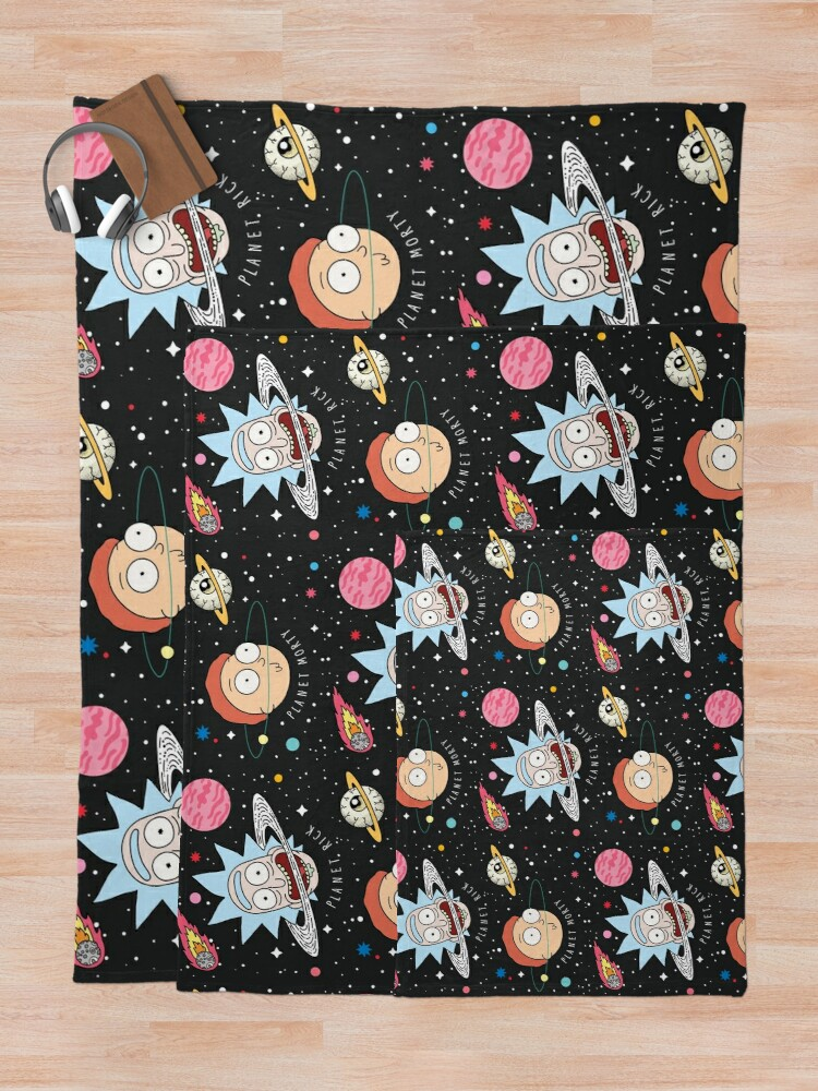 Alternate view of Rick and Morty Planets Throw Blanket