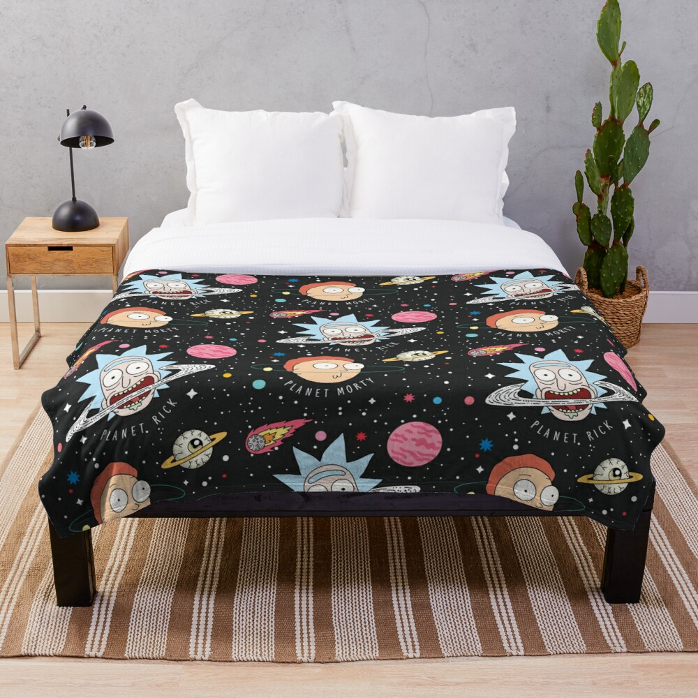 Rick and Morty Planets Throw Blanket