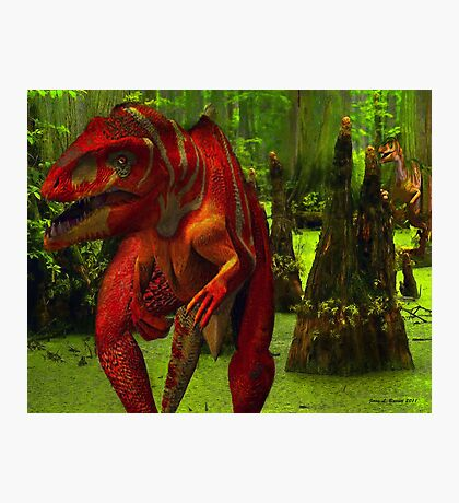 Allosaurus Hunted by a Raptor Photographic Print