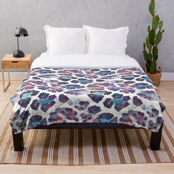 Multicoloured Chame-Leo-Pardus - Leopard Print Inspired Pattern Throw Blanket