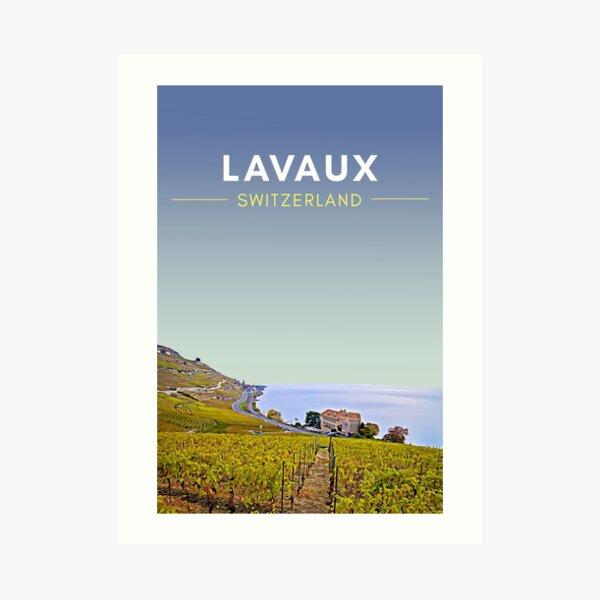 Lavaux Vineyards Switzerland Digital Travel Art - no border Art Print