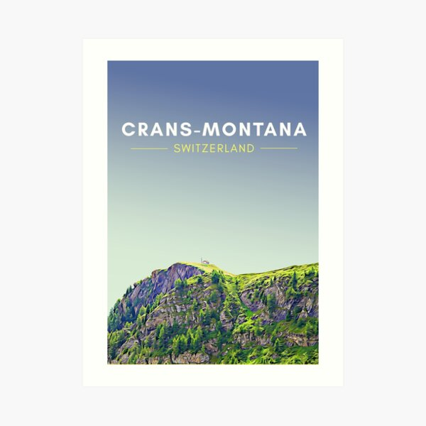 Crans-Montana Switzerland Digital Travel Art - no border Art Print