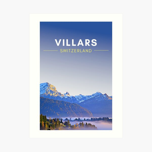 Villars Switzerland Digital Travel Art - no border Art Print