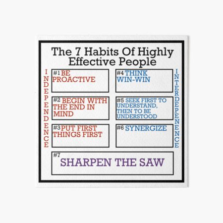 The 7 Habits Of Highly Effective People - Inspiration Reminder Sticker Art Board Print