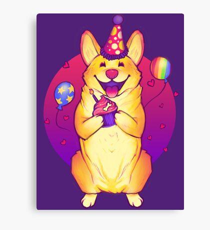 Birthday Corgi! Canvas Print