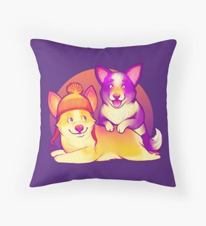 Cunning Corgis Throw Pillow