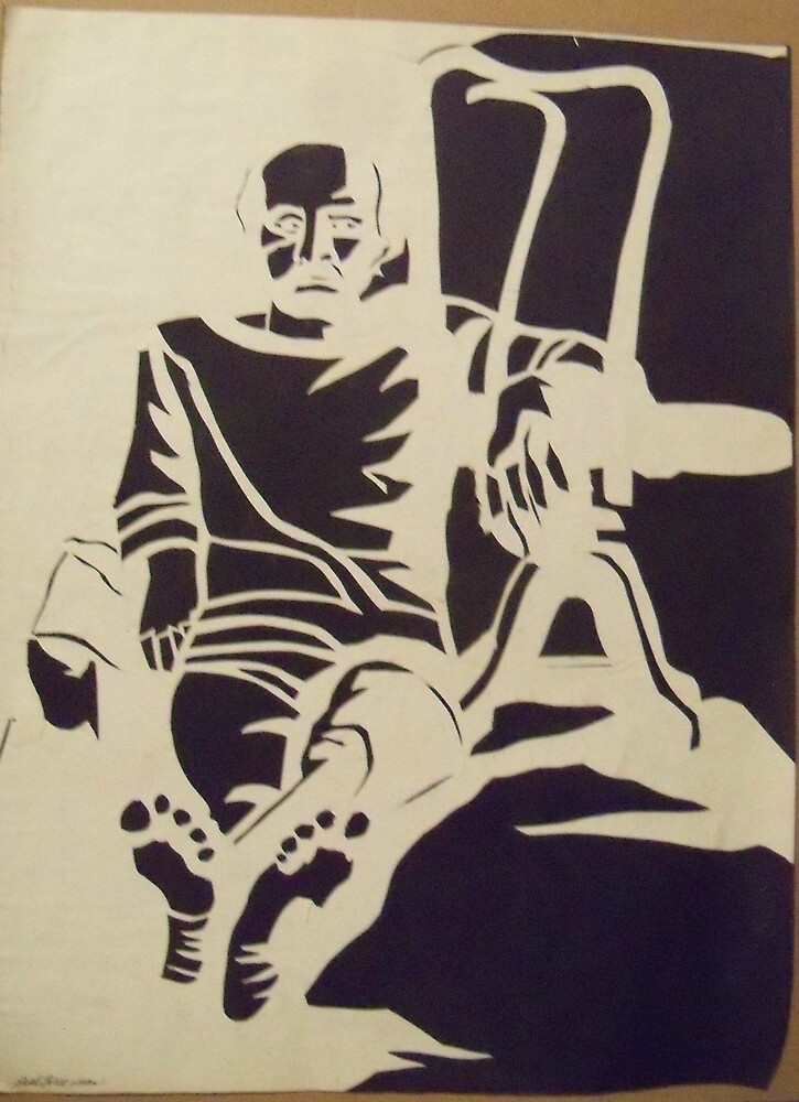 MALE FIGURE PAPER CUT OUT IN BLACK AND WHITE by monaruth