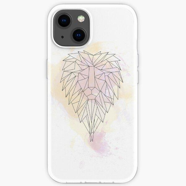 Löwe Watercolor Aquarell Origami Linien iPhone Flexible Hülle