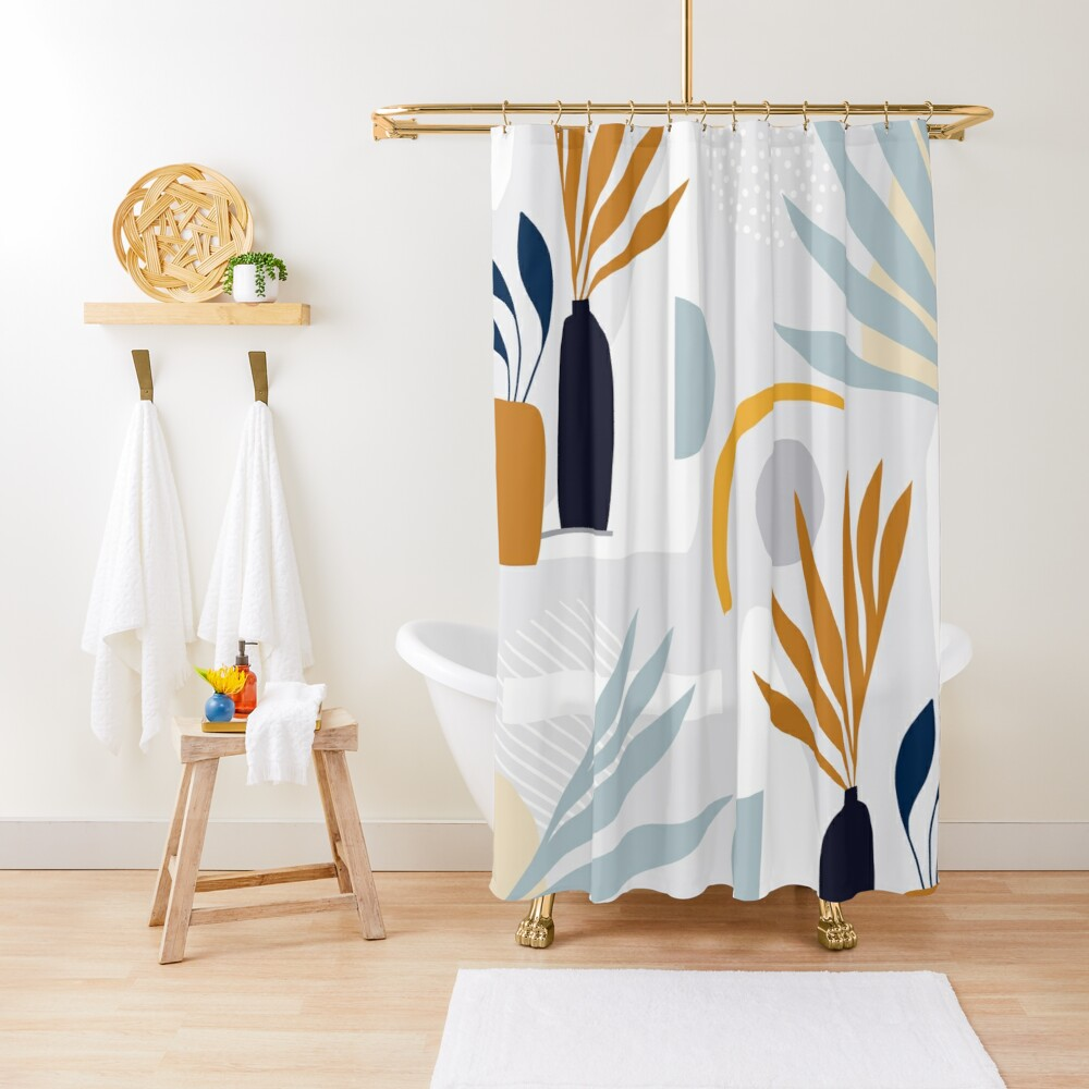 The Shapes of Nature - Pattern 3 on pastel grey Shower Curtain
