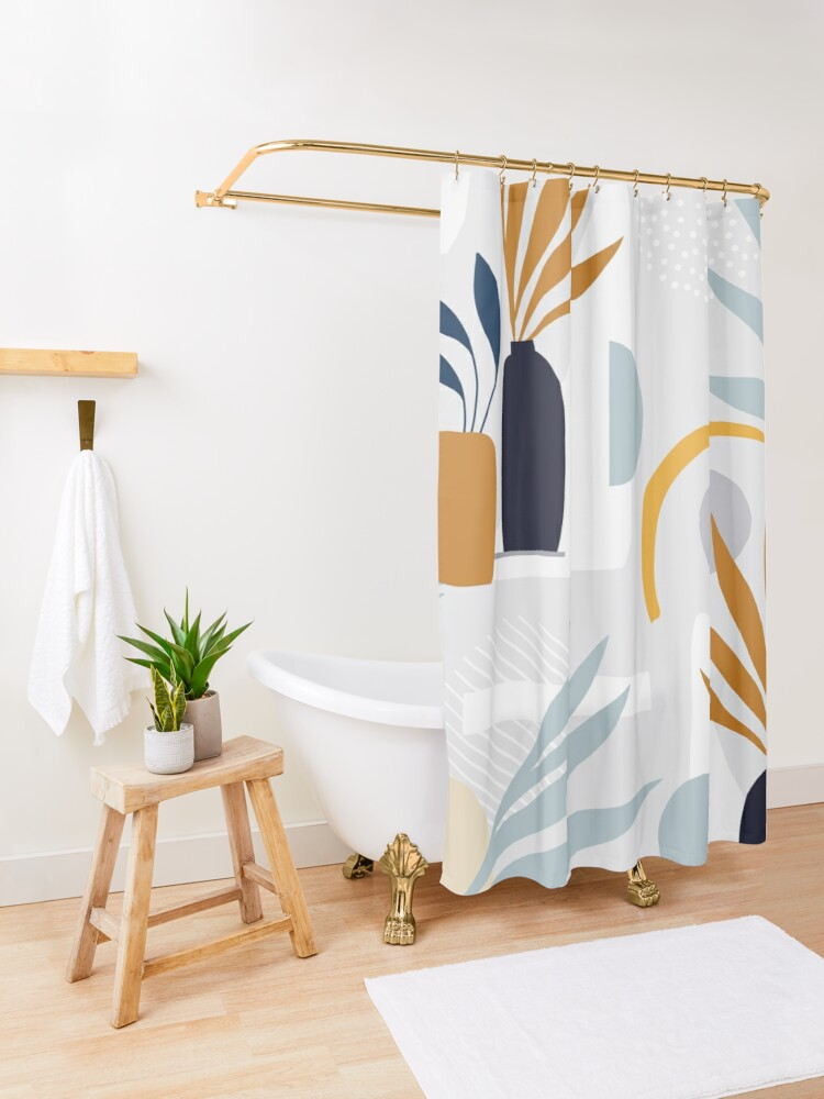 Alternate view of The Shapes of Nature - Pattern 3 on pastel grey Shower Curtain
