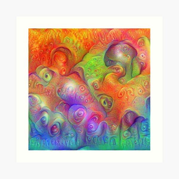 DeepDream Tomato Steelblue Ecstatic Autumn Art Print