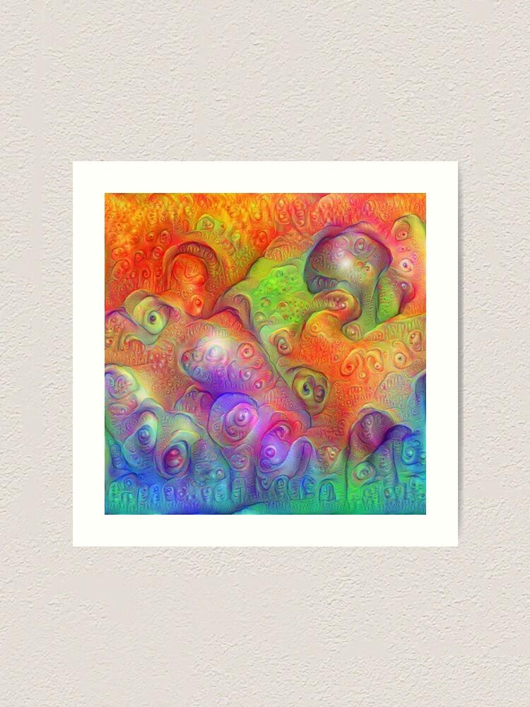 Alternate view of DeepDream Tomato Steelblue Ecstatic Autumn Art Print