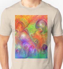 DeepDream Tomato Steelblue Ecstatic Autumn Slim Fit T-Shirt