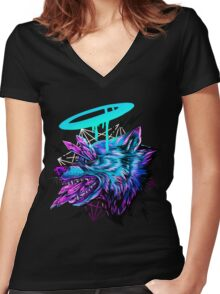 Crystal Wolf  Women's Fitted V-Neck T-Shirt