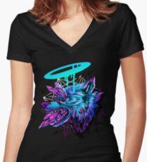 Camiseta entallada de cuello en V Lobo de cristal
