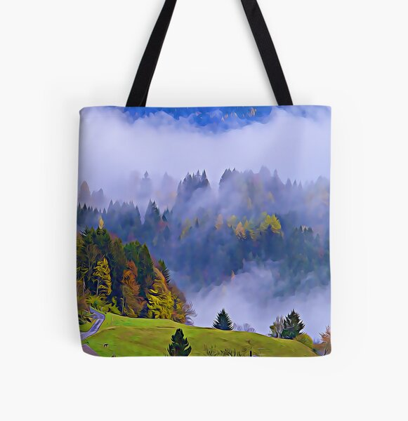 Swiss Alps Mountain Village in the Autumn All Over Print Tote Bag