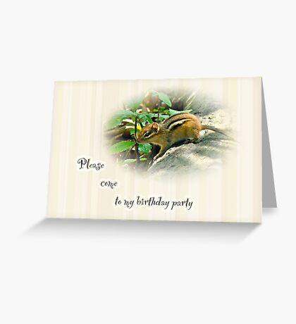 Birthday Party Invitation - Chipmunk Greeting Card