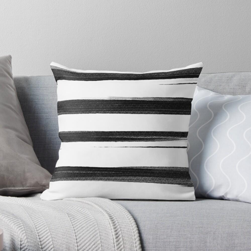 Black and White Brash Stroke Stripes  Throw Pillow
