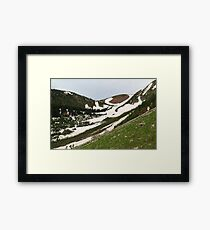 Snowy, grassy slopes Framed Print