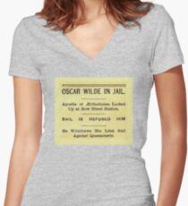 Oscar Wilde In Jail Headline Fitted V-Neck T-Shirt