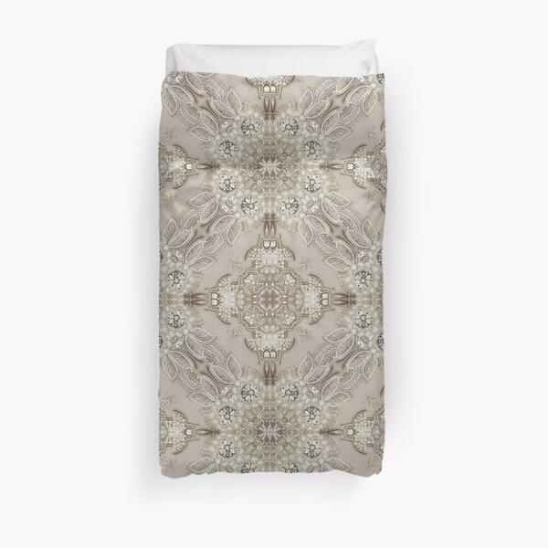 vintage Rhinestone pearl glamorous beige  lace Duvet Cover