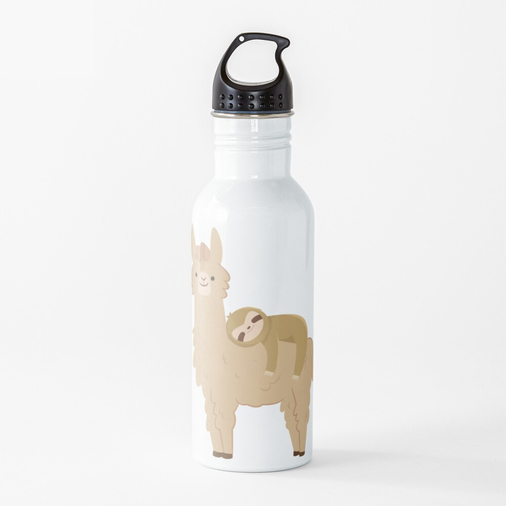 Adorable Sloth Relaxing on a Llama | Funny Llama Sloth Water Bottle