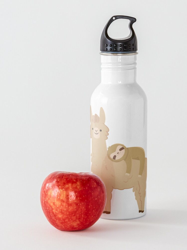 Alternate view of Adorable Sloth Relaxing on a Llama | Funny Llama Sloth Water Bottle