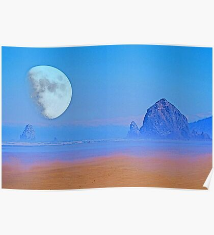 Cannon Beach Moon Poster