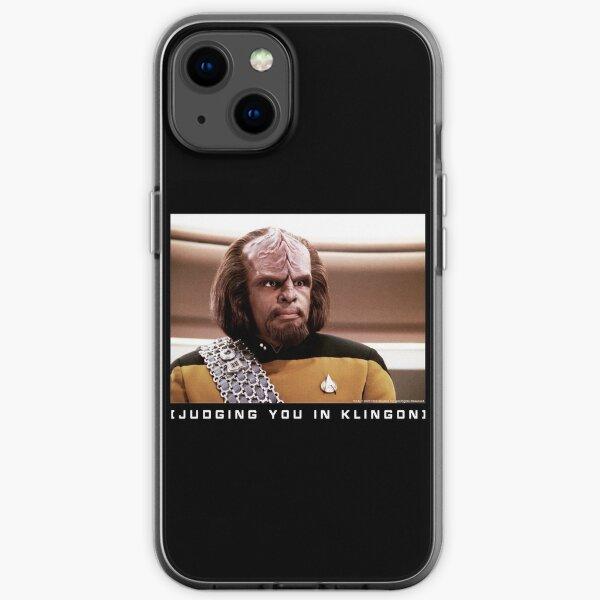 Star Trek Next Generation Worf ( Judging You In Klingon) Portrait iPhone Soft Case