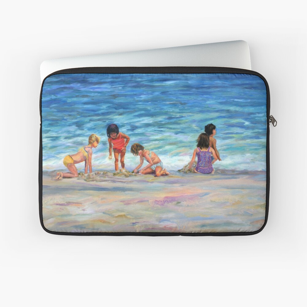 Beach Kids. From original oil painting on Long Beach Island, NJ by Pamela Parsons Laptop Sleeve