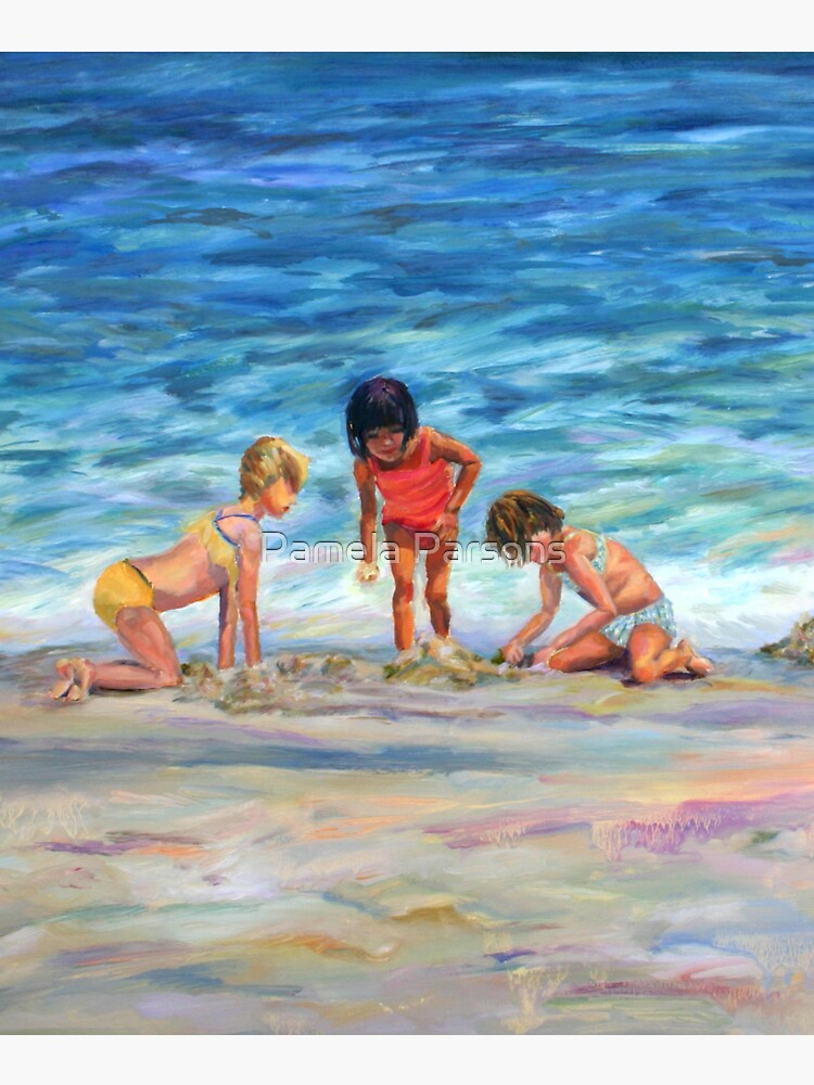 Beach Kids. From original oil painting on Long Beach Island, NJ by Pamela Parsons by parsonsp