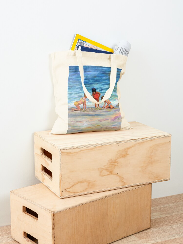 Alternate view of Beach Kids. From original oil painting on Long Beach Island, NJ by Pamela Parsons Tote Bag